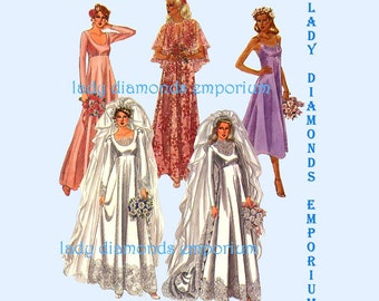 McCalls 6910 Empire Waist Wedding Gown Bridesmaid Dress Cocktail Dress Cape size 10 Bust 32.5 Vintage 1970's Sewing Pattern Uncut FF