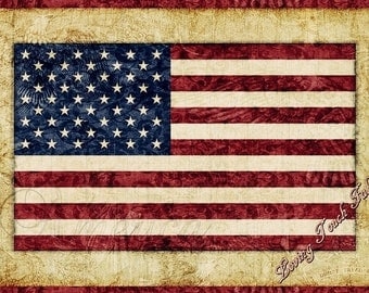 "Quilting Treasures /Dan Morris ""Home of the Brave"" #24805-A American Flag Patriotic Fabric Panel 24"" x 44"""