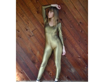 Gold Metallic Stretch Full Bodysuit Leotard - Vintage 80s - XS/S Petite