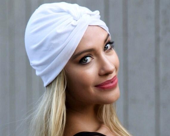 Turban Hat White Full Turban Women's Turban Hat Hair Covering Head Scarf Beach Coverup Chemo Cap Hair Scarf White Turban 1940s Chemo Hat