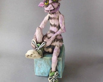 Monster Ceramic Sculpture with Chuck Taylor Converse High Top Sneakers