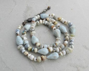 Spa Blue, Cream, Gray, Brown Hand Knotted Blue Opal-Aquamarine-Silverite-Dendritic Opal and Pearl Gem Necklace