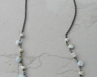 Blue Opal Gem Drops and Rustic White Keishi Pearl Handmade Necklace