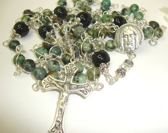 Catholic Rosary, Holy Face of Jesus, African turquoise,antiqued crucifix, Abundant Grace Rosaries, Easter, Fathers Day
