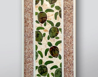 """Stained Glass Mosaic Wall Panel, Baby Sea Turtle Hatchlings """"Follow the Leader"""""""