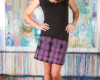 Shibori It! -  Stretch Hemp and Organic Cotton Tie-dye Mini Skirt