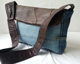 recycled denim bag, denim bag, denim and leather bag, upcycled bag, leather, jeans bag, manbag, recycled leather bag, upcycled,denim