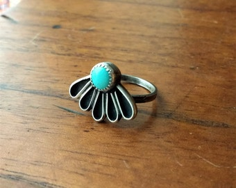 Sleeping Beauty Turquoise Sterling Silver Daisy Flower Ring - Size 6.5 - Boho Bohemian Nature Ponderbird