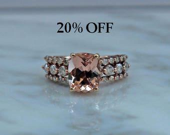 Rose Gold, Morganite, Morganite Ring, Morganite Engagement Ring, Diamonds, Morganite, Rose Gold Ring, Rose Gold & Diamonds, Appraisal Incl.