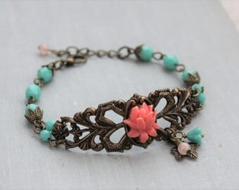 Vintage Inspired Coral and Turquoise Beaded Bracelet