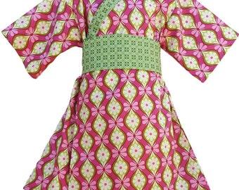 Girls Kimono Dress - PINK VERDE-  Japanese Yukata for Baby Toddler Girls