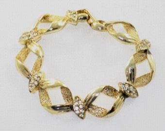 Vintage Gold Tone Clear Rhinestone Link Panel Bracelet (BR-2-4)