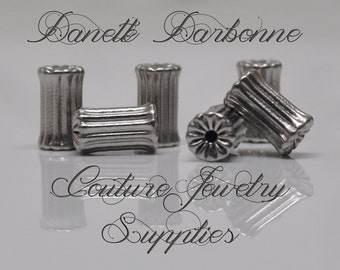 9 X 5 mm 304 Stainless Steel Corrugated Column Beads Silver Toned