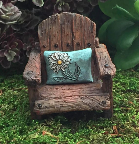 Mini Chair With Attached Aqua Daisy Pillow, Weathered Wood Look Chair, Fairy Garden Chair, Home & Garden Decor