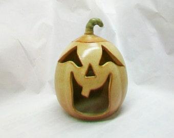 Halloween Pumpkin Luminary -- Jack -o-Lantern to Light-up - Handmade on the Potters Wheel - Ready to Ship Now