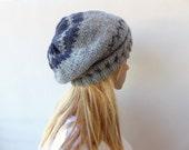 RESERVED Grey Slouchy beanie Grey fair isle knit hat Grey slouchy hat womens Grey Knit Hat
