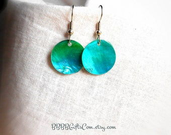 Teal Green Mother Of Pearl Coin Dangle Drop earrings - Surgical Steel French Hooks