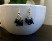 Black Scotty Dog Lampwork Bead Earrings