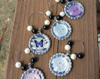 5 Butterflies, Zebras, and Buttons Bottlecap Wine Charm set, Handmade by me, pink purple and blue glitter buttons, lightweight wine charms