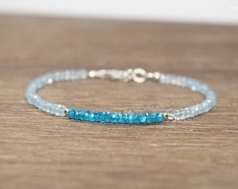 Aquamarine & Neon Apatite Bracelet, Sterling Silver or Gold Filled Beads, Neon Apatite Jewelry, March Birthstone