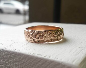 Rose Gold Mens Rustic Wedding Band - 14k Gold - 7mm - Moonrock - Wide Wedding Ring