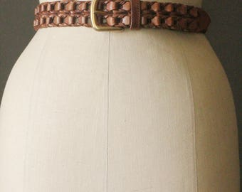Vintage 80's Caramel Brown Woven Leather Belt with Brass Buckle