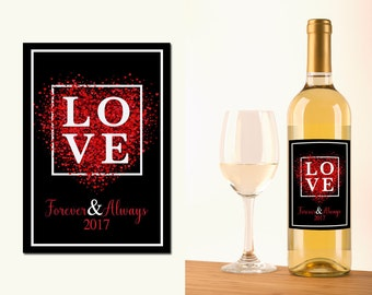 Custom Wine Bottle Labels Valentines Love Waterproof Printed Anniversary Gift Shower Wine Basket Engagement Party WB-1061