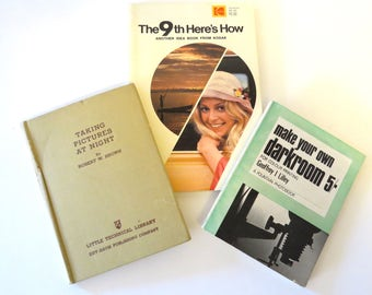 3 Vintage Photography Books, Taking Pictures at Night, Kodaks 9th Here's How, Make Your Own Darkroom