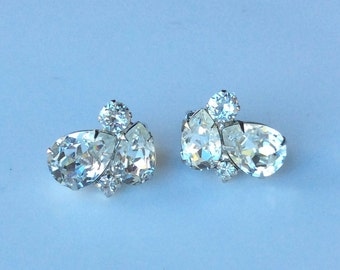 Weiss Clear Pear Rhinestone Earrings - Wedding Ready!