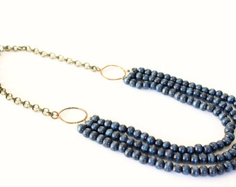 Navy blue beaded statement necklace, multi layer necklace