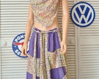 Vintage Womens 70s 80s Maxi Skirt/Chessa Davis/Purple & White and Floral w/scarf and belt/Elastic Waist/Theater Costume Boho Gypsy Medium