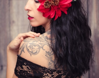 Red Dahlia Hair Flower with Pine Needles & Pine Cones Pinup Fascinator Clip ON SALE