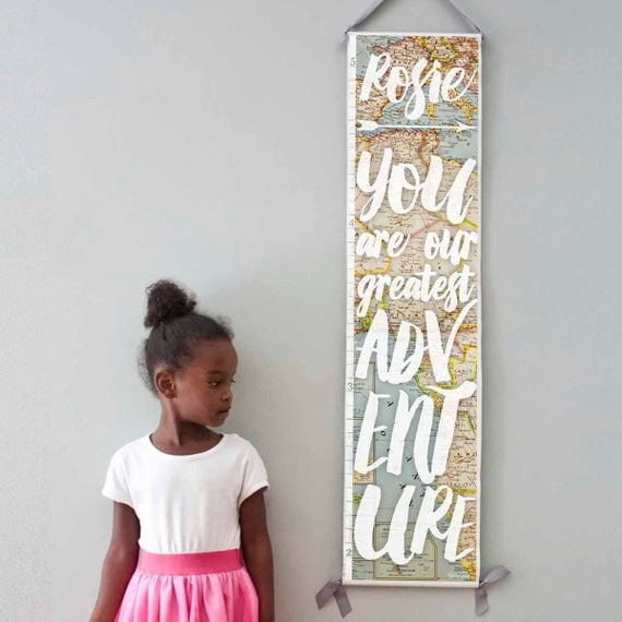 Custom/ Personalized You Are Our Greatest Adventure growth chart with vintage map background