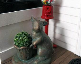 Copper patina bunny garden planter - dollhouse miniature