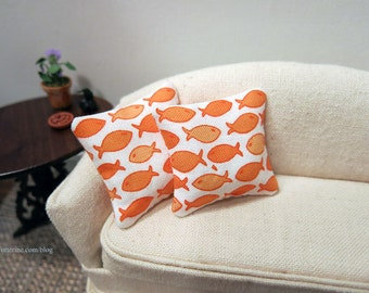 Goldfish pillows - set of two - dollhouse miniature