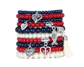 Beaded Bracelets Set of 10 Stretch Bracelets Faith and Love Themed Stack with Silver Tone Charms and Tassel