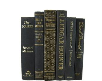Vintage  Black Books , Black Old Books , Black Vintage Book Set ,