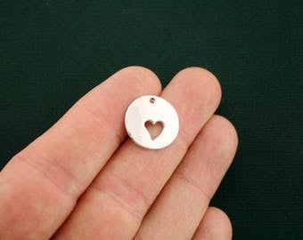 3 Heart Charms Antique Silver Tone - Cut-out Heart Design - SC6959