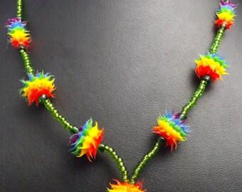 Spiky Necklace, round beaded, Drop necklace acid green seed beaded necklace, cyber necklace, festival necklace,