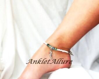 Sea Horse Anklet Ankle Bracelet Aqua Crystal Body Jewelry Cruise Jewelry Resort Foot Jewelry