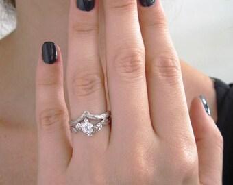Wedding Set Bands, Set Leaf Twig Engagement Ring, Gold Engagement Ring, Natural Engagement Ring, Natural Floral Engagement, Wood Taxture