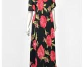 Asian Style Dress Long Floral Dress 90s Dress Grunge Dress Red Black Floral Maxi Dress Mandarin Collar 1990s Dress Chiffon Dress L/XL