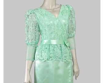 Vintage 80s Cocktail Party Dress Mint Green Satin Lace Dress 1940s Style Peplum Dress Puff Sleeve Wiggle Dress 1980s Formal Dress