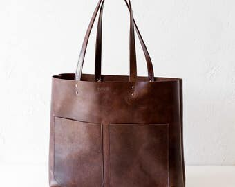 Large Dark Brown Leather Tote bag No. LPB-1013