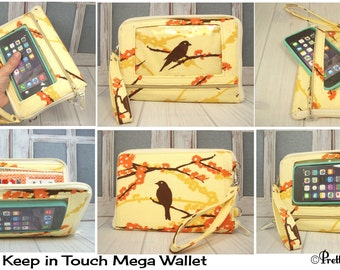 Passport Wallet • Travel Wallet Phone Case • Smartphone Wallet • bird aviary • orange floral • Keep in Touch MEGA Wallet • 5b