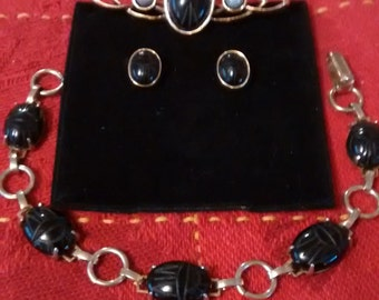 Black Onyx Scarab Set: bracelet, pierced earrings, pin