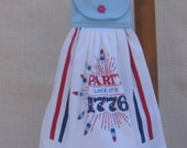 Patriotic Kitchen Hanging Towel, Dish Towel, Red White Blue Kitchen Decor