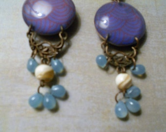 Funky Earrings with Orange Design on Purple Glass Disc, Embossed Brass and Hanging Blue and Ivory Beads