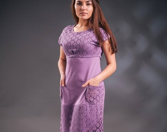 Lilac dress, summer dress, lace dress, lilac lace dress, upcycled dress, unique dress, pocket dress, original dress, jersey summer dress