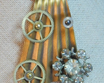 Steampunk Vintage Brass, Gears And Rhinestones Necklace